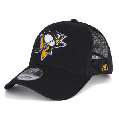28115 Бейсболка NHL Pittsburgh Penguins черная с сеткой-atributika
